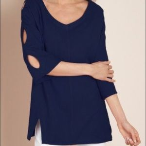 Soft Surroundings Gabby Gauze Top Cut Out Large